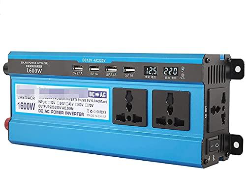 KONGLZG Inversor de Potencia de automóvil, Transformador de convertidor de Voltaje de automóvil DC 12V a CA 220V con enchufes de 3 Clavijas y Puertos de 4-USB para autocaravanas, camión