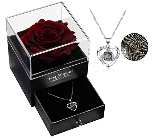 Ewige echte Rose mit I Love You Halskette 100 Sprachen Schmuck Geschenkbox Ewige echte Rose für Valentinstag Muttertag Hochzeit Jahrestag Geburtstag Geschenk für sie (Weinrot)