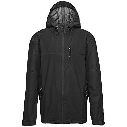 33,000ft Regenjacke Herren Wasserdicht Outdoorjacke Leichte Freizeitjacke Packbare Windjacke Fahrrad Regenmantel mit Kapuze schwarz 2XL*