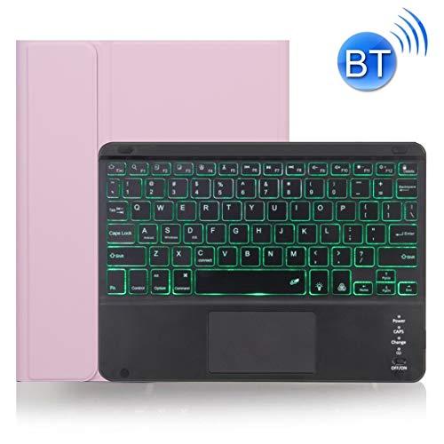 45532rr Bluetooth Caja del Teclado X-11BCS for iPad Pro de 11 Pulgadas 2020/2018 Textura de la Piel extraíble con Pantalla táctil y Bandeja de rotuladores y luz de Fondo (Color : Pink)
