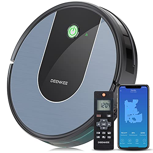Robot Vacuum,DEENKEE Wi-Fi/App/Alexa Robot Vacuum Cleaner 1600Pa Suction for Pet Hair,Hard Floors,Carpets(120 Mins Runtime,6 Cleaning Modes,Self-Charging,Smart Navigation & Mapping,Super Thin, Quiet)