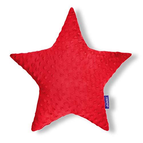 JUKKI® Baby, Kinder Kopfkissen Daunen Kissen Stern 40x40cm mehrfarbig zu 100% aus Minky Material und von Hand genäht für Mädchen und Junge, antiallergisch (Minky Rot)