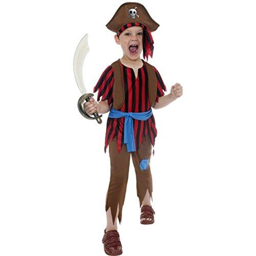NET TOYS Déguisement Enfant Pirate Flibustier Rouge Marron M 140 cm déguisement Pirate déguisement de Flibustier déguisement Pirate Enfant Corsaire Flibustier