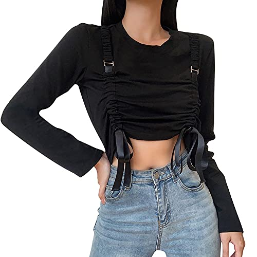 Charmlinda Mujeres Y2k moda con capucha Crop Top manga larga color sólido abierto frente encogimiento Tops camisas blusas con cordón Clubwear, Negro-4, L