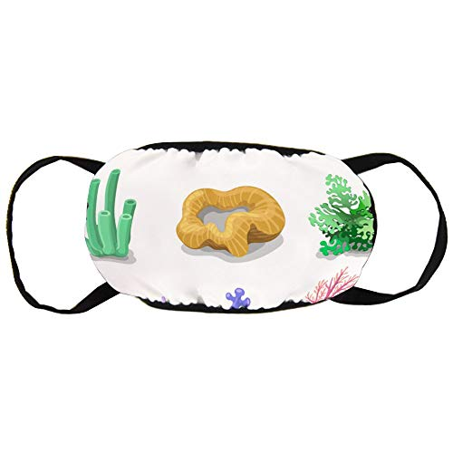 Colorful Corals Reef Nature Marine Cotton Gezichtsmasker Mouth met modieuze anti-douche gezicht Maks Earloops Herbruikbaar Mouth Muffle Mask