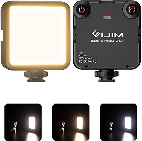 Mini Video licht mit 3 Cold Shoe, VIJIM VL81 Dimmbare LED Videoleuchte mit 3100mAh Eingebautem Akku,Tragbar Flächenlicht 3200K-5600K,CRI95+ für alle Smartphone und DSLR Kameras