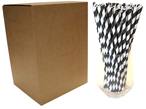 Pajitas de Papel a Rayas Negras y Blancas (6mm x 200mm) -...