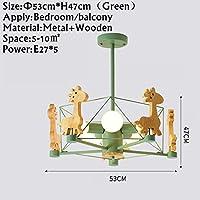 YYONGAO 動物LEDシャンデリア木製Lustresのためにリビングルームウッドベッドルームダイニングライト現代の天井にはシャンデリア、照明マウント (Lampshade Color : As pic5)