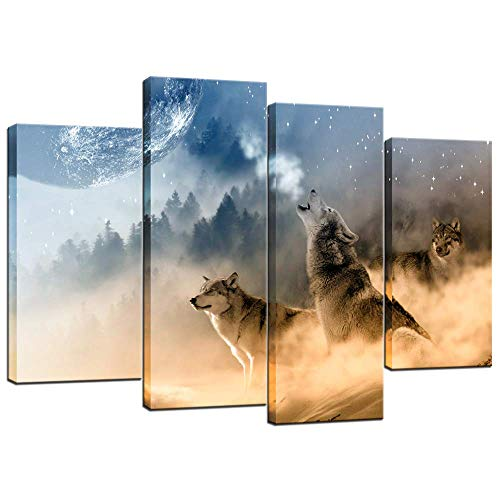 Biuteawal - 4 Piece Animal Wall Art Painting Wolf Howling to The Moon Poster Art Print Wildlife Picture for Home Modern Decoration Stretched and Framed Ready to Hang
