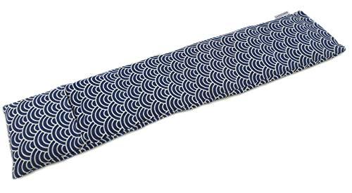 Saco térmico cervical extralargo de semillas de trigo con funda lavable 63x15cm (Kimono azul)