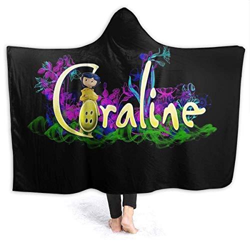 Coraline - Manta con capucha ultra suave, 152 x 150 cm, capa para adultos, apta para leer
