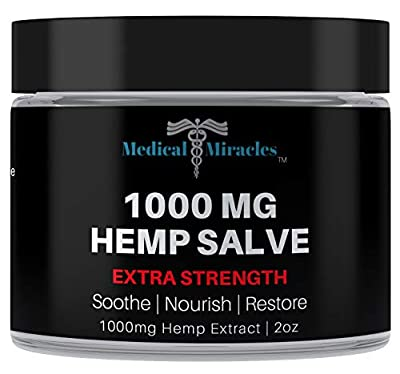 Medical Miracles Hemp 1000 Mg Extra Strength Healing Salve | 100% Natural Cream Relieves Inflammation, Muscle, Joint, Knee, Nerve, Arthritis Aches & Pain | Fast Acting, Maximum Power, Quick Relief by Medical Miracles