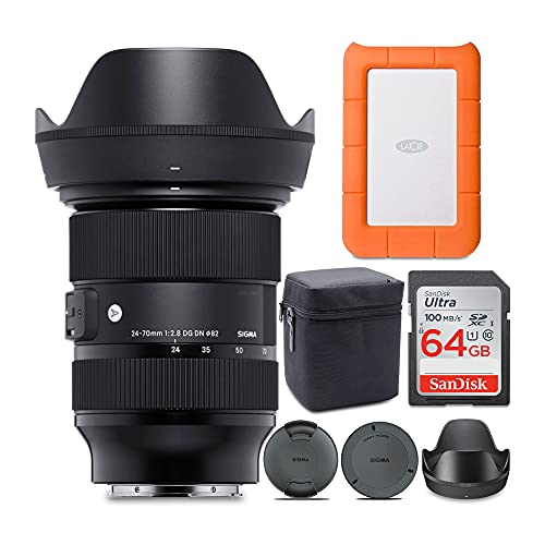 Sigma 24-70mm f/2.8 DG DN Art Zoom Full Frame Sony E-Mount Lens with LaCie Rugged Mini 1TB Hard Drive and 64GB SD Card...