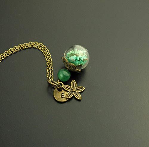 Kette Anhänger Wunsch Buchstaben Gravur echte Blüten Glasperle Aventurin Edelstein Perle grün bronze Juvelato