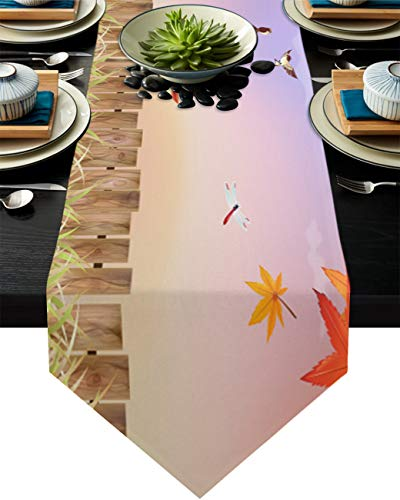Infinidesign Red Maple Leaves Table Runner 16x72inch, Cotton Linen Table Runners Perfect for BBQ Holiday Parties and Everyday Use Letter Box and Bird Dragonfly Autumn Illustration