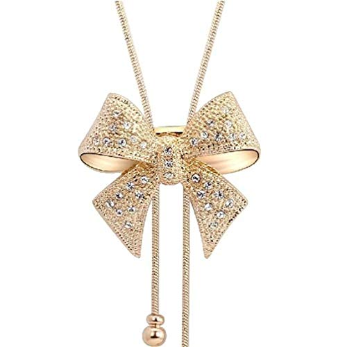 LJSLYJ Women Cubic Zircon Bow Long Adjustable Chain Pendant Sweater Necklace,Gold