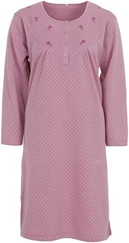 LUCKY Nachthemd Damen Thermo Langarm Punkte Winter Knöpfe, Farbe:Altrosa, Größe:2XL
