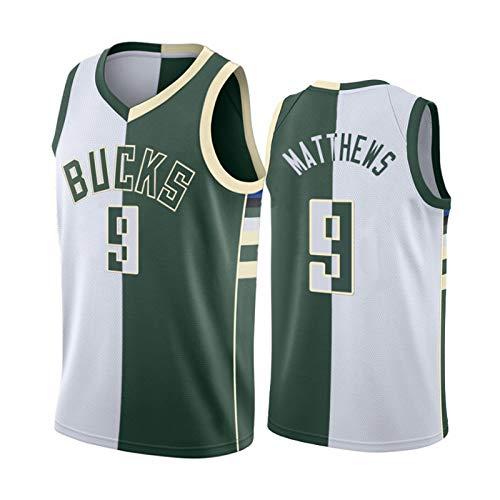 Wesley Matthews Jerseys, Milwaukee Bucks # 9 Camisetas De Baloncesto para Hombre, Cool Tela Transpirable Swingman Chaleco Sin Mangas Top Unisex Sudadera Transpirable A-M