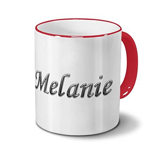 Tasse mit Namen Melanie - Motiv Chrom-Schriftzug - Namenstasse, Kaffeebecher, Mug, Becher, Kaffeetasse - Farbe Rot
