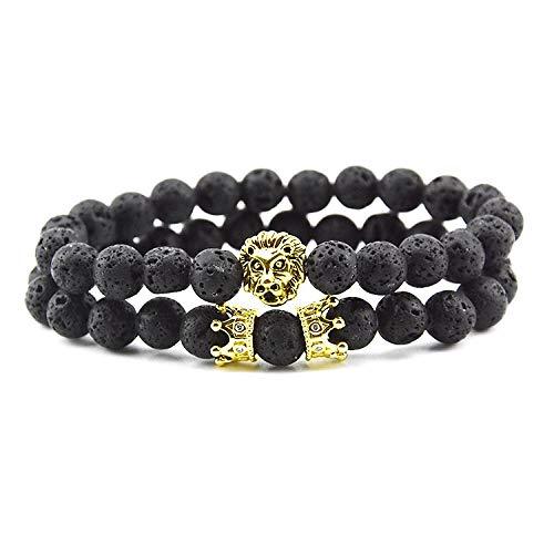 Golden Lion'S Head Crown Dubbele armband met vulkanische steen, vorm design, punk, hip, hop, persoonlijkheid, paar vrienden, verjaardagscadeau voor vrouwen en mannen.