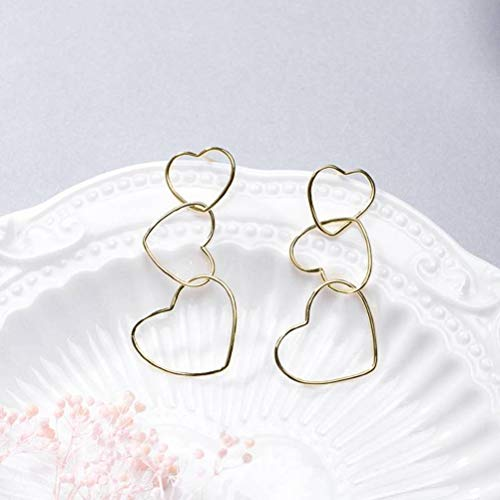 WOZUIMEI Eardrop Earring S925 Silver Heart With Heart Symmetry Stud Earrings Women 's Mirror Gold Plated Gold Plated And Simple Earringsor, Argent 925