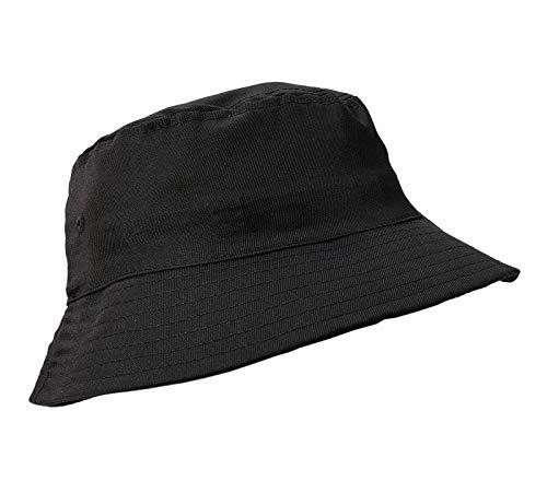 MFAZ Morefaz Ltd Unisex Fischerhüte Baumwolle Twill Bucket Hat Anglerhut Zum Wandern Camping Reisen (Black)