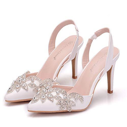 CJJC Rhinestone de Gran tamaño en Punta del Dedo del pie Zapatos de Boda para Las Mujeres de Moda Sandalias Blancas con Hebilla Ideal para Nupcial Dama de Honor Fiesta de Uso EU40