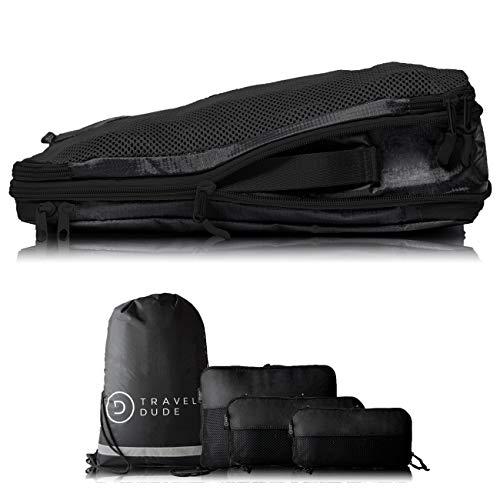 TRAVEL DUDE Packwürfel Set mit Kompression aus recycelten Plastikflaschen | Packing Cubes | Packtaschen Set für Rucksack & Koffer | Extra leichte Kleidertaschen (Schwarz, 4-teilig)