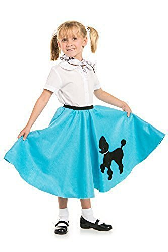 Poodle Skirt with Musical Note printed Scarf Turquoise by Kidcostumes