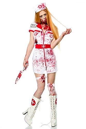 Atixo Mask Paradise Zombie Nurse - Juego completo de máscara, color blanco y rojo