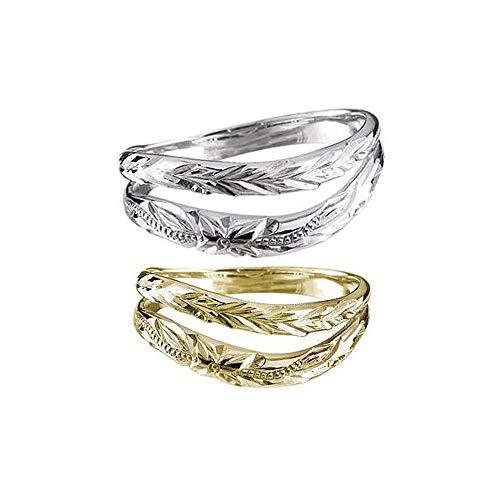 [アトラス]Atrus 結婚指輪 レディース ハワイアンジュエリー pt900 18金 プラチナ イエローゴールドk18 ミル打ち ペア ストレート 指輪 2本セット