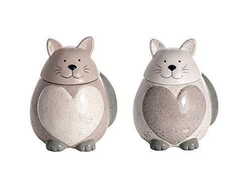 SPOTTED DOG GIFT COMPANY Vorratsdose Keramik mit Deckel Luftdicht, 2er Set Küche Aufbewahrungsbehälter Katze und Herzform, Geschenkidee für Katzenliebhaber Katzenfreunde