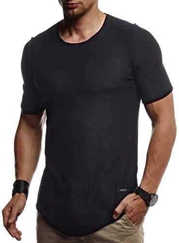 Leif Nelson Herren Sommer T-Shirt Rundhals Ausschnitt Slim Fit aus Feinstrick Cooles Basic Männer T-Shirt Crew Neck Jungen Kurzarmshirt O-Neck Sweater Shirt Kurzarm Lang LN20755 Schwarz Medium
