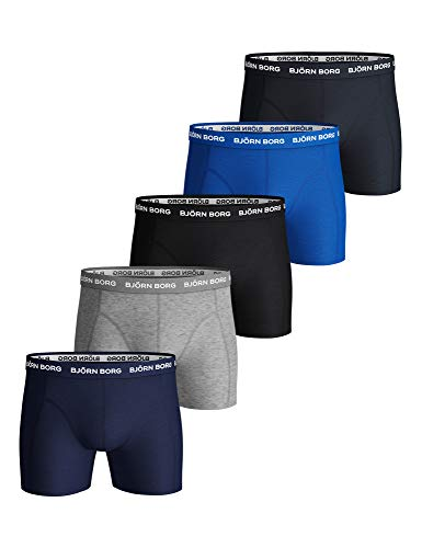 Björn Borg Mannen Solid Boxer Shorts Slips Ondergoed Katoen Stretch 5 Pc - blauw - L