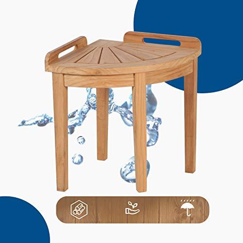Homelity Teak Shower Corner Bench, 250 lbs Weight Limit Spa Bath Chair, Waterproof Shower Bath Seats for Adults, Elderly, Seniors (Natural)