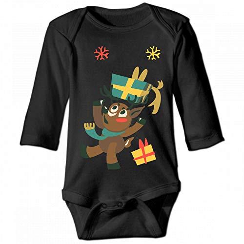Christmas Cartoon Smile Unisex Baby Round Neck Long Sleeve Bodysuit, Fashion Casual Baby Climbing Suit 2T