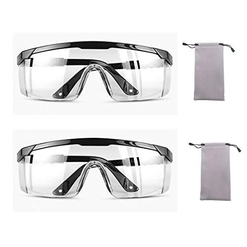 Klare Schutzbrillen Arbeitsschutzbrille Anti Nebel Spritzfest Schutzgläser für Labor Chemie Radfahren UV Schutz Brille Vollsichtschutzbrille Sicherheit Gläser mit PC Rahmen Polycarbonat Linses 2Pcs