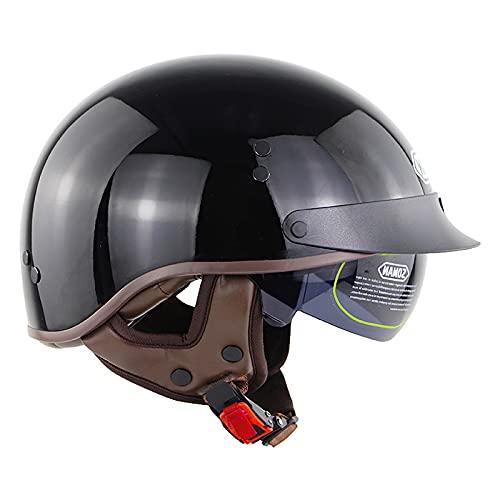 Casco de Moto con Visera,para Hombre y Mujer, Estilo Retro,con Visera Integrada,para Cruiser, Chopper, Biker Certificado ECE Casco Moto Abierto Custom Scooter B,XL=61~62cm
