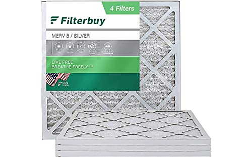 Product Image of the FilterBuy 20x20x1 Air Filter MERV 8, Pleated HVAC AC Furnace Filters (4-Pack, Silver)
