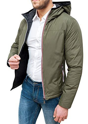 Evoga Giubbotto Giacca Invernale Uomo Casual con Zip (XL, Verde)