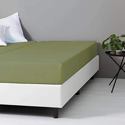 Verkoelend Hoeslaken - Groen - 90x200 cm - Percal Katoen - Dekbed-Discounter - Voor Matrassen Tot 21 CM