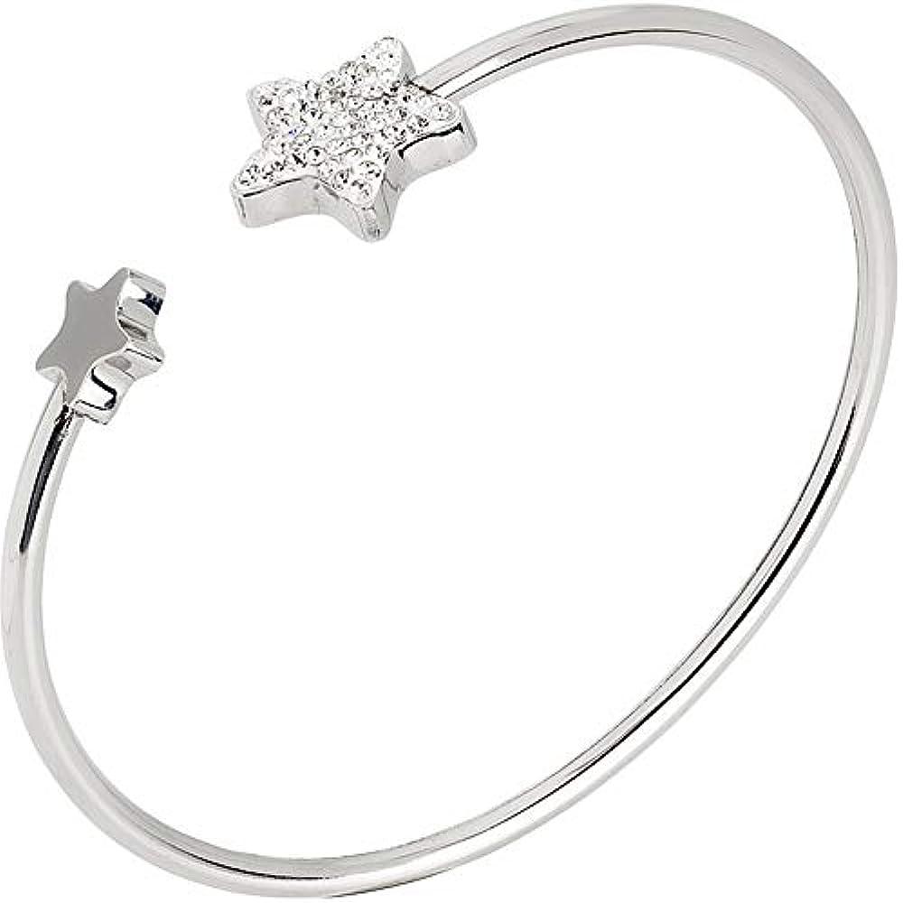 Boccadamo, bracciale per  donna,in acciaio rodiato,con stella in glitter e stella dalla superficie liscia. Gb/Br22