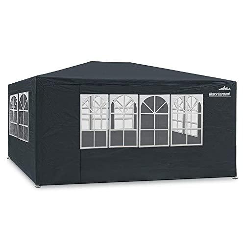 MaxxGarden Festzelt Partyzelt 3x4m Anthrazit - 12m² Pavillon mit 4 aufrollbaren Seitenwänden - wasserabweisend - UV-Schutz 50 + - Farbauswahl