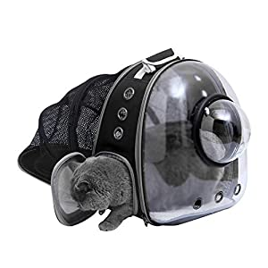 LTBLBY Portable Cat Backpack Carrier Bubble Bag,Expandable Clear Dog Backpack Carrier for Small Dogs,Pet Carrying Hiking Traveling Backpack
