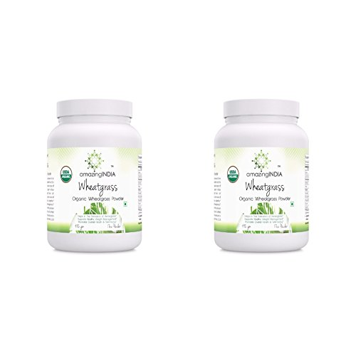 Amazing India - Certified Organic Wheatgrass Powder Helps in The Formulation of Hemoglobin, Supports Healthy Weight Management,Promotes Overall Health & Well-Being Pack of 2