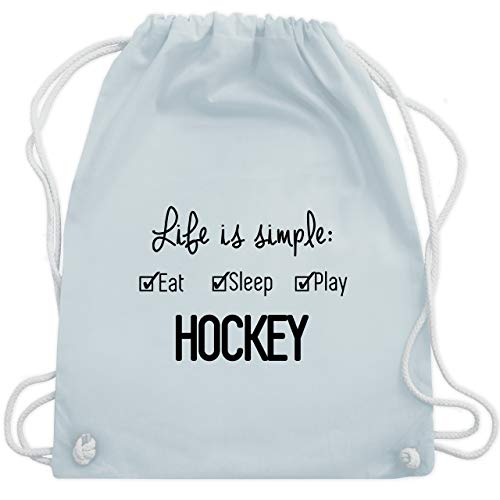 Shirtracer Eishockey - Life is simple Hockey - Unisize - Pastell Blau - WM110 - Turnbeutel und Stoffbeutel aus Bio-Baumwolle