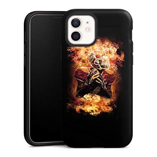 DeinDesign Panzer Handyhülle kompatibel mit Apple iPhone 12 Mini robuste Outdoor Hülle Schutzhülle matt Sport American Football Feuer