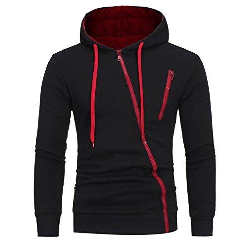 LHWY Winter Mantel Herren, Mode Männer Langarm Hoodie Hooded Sweatshirt Tops Jacke Mantel Outwear Tilt Reißverschluss Casual Sport Outdoor Shirt Schwarz Weiß für Jugendliche Jungen (M, Schwarz)