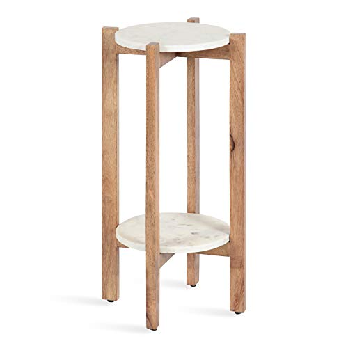 Kate and Laurel Moxley Modern Marble Side Table, 12 x 12 x 24, Natural and White, Round Two-Tier End Table for Storage and Display