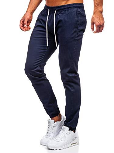 BOLF Herren Jogginghose Sporthose Trainingshose Jogger Sweathose Stoffhose Stretch Fitnesshose Jogpants Sweatpants Beinabschluss Pants Baumwolle Slim Fit J.Boyz 1145 Dunkelblau(Dunkel) L [6F6]